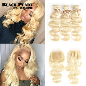 613 Blonde Bundles With Closure Malaysian Body Wave 100% Human Hair