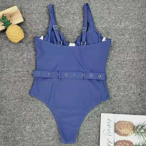 Women's Blue Swimwear Sexy Push Up One Piece