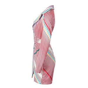 Women's Sexy V-Neck Sashes Stripe Mini Dress