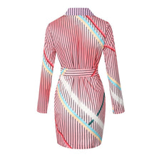 Load image into Gallery viewer, Women's Sexy V-Neck Sashes Stripe Mini Dress