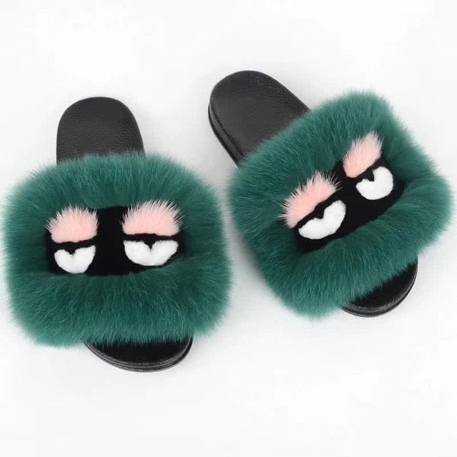 Women Fur Slippers Luxury Real Fox Fur Sandal Fluffy Comfy Cute Monster Furry Flip Flops