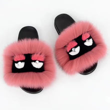 Load image into Gallery viewer, Women Fur Slippers Luxury Real Fox Fur Sandal Fluffy Comfy Cute Monster Furry Flip Flops