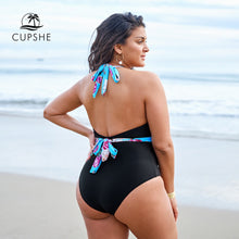 Load image into Gallery viewer, Plus Size Floral and Black Halter One Piece Sexy Swimsuit