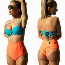 Cargar imagen en el visor de la galería, Women's Bikini Thong Bottom Brazilian V Cheeky Ruched Swimwear High Waist Bottoms