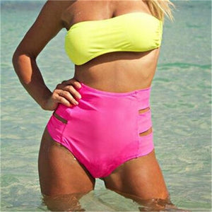 Women's Bikini Thong Bottom Brazilian V Cheeky Ruched Swimwear High Waist Bottoms