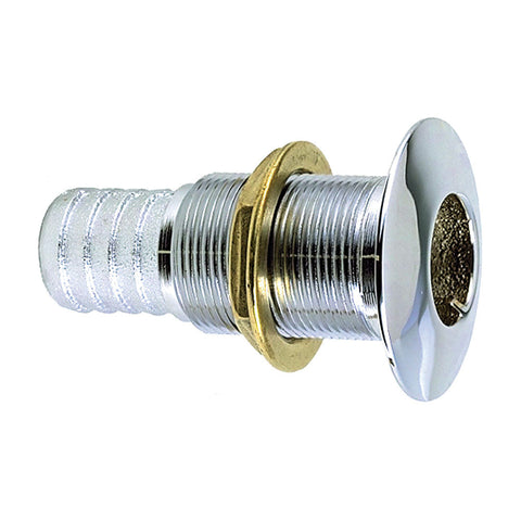 "Perko 1-1/4"" Thru-Hull Fitting f/ Hose Chrome Plated Bronze Made in the USA"