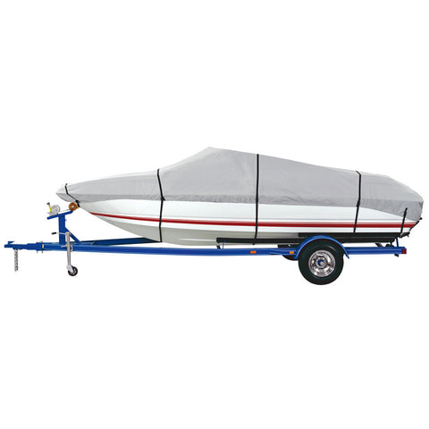 Dallas Manufacturing Co. 600 Denier Grey Universal Boat Cover - Model C - Fits 16'-18.5' - Beam Width to 94""
