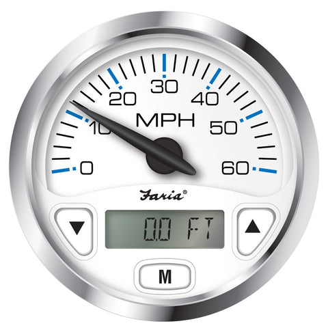 "Faria Chesapeake White SS 4"" GPS Speedometer w/Digital Depth Display - 60MPH - Transducer Required"