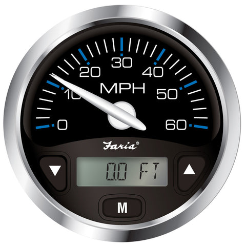 "Faria Chesapeake Black SS 4"" GPS Speedometer w/Digital Depth Display - 60MPH - Transducer Required"