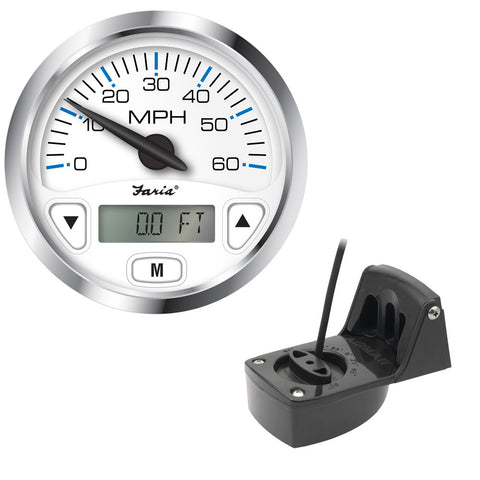 "Faria Chesapeake White SS 4"" GPS Speedometer w/Digital Depth Display - 60MPH - w/Transom Mount Transducer"