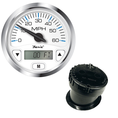 "Faria Chesapeake White SS 4"" GPS Speedometer w/Digital Depth Display - 60MPH - w/In-Hull Transducer"