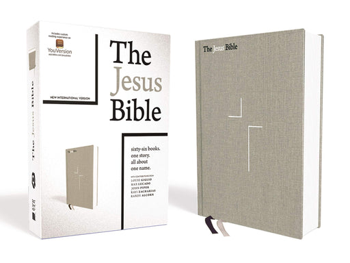 The Jesus Bible, NIV Edition, Cloth Over Board, Gray Linen, Comfort Print - ChristianMetro