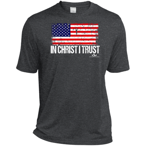 IN CHRIST I TRUST Heather Dri-Fit Moisture-Wicking T-Shirt - ChristianMetro