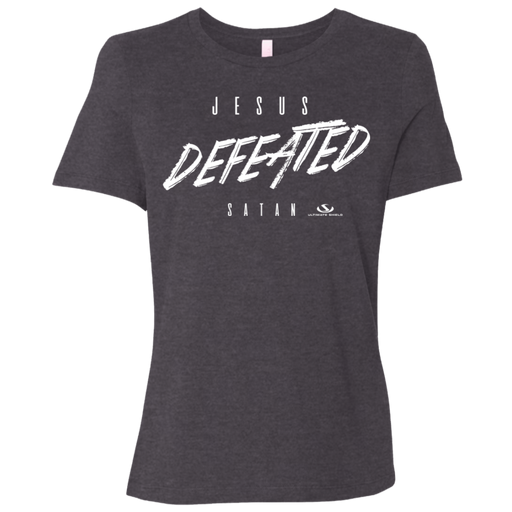 JESUS DEFEATED SATAN Ladies' Relaxed Jersey Short-Sleeve T-Shirt - ChristianMetro