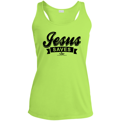 JESUS SAVES Ladies' Racerback Moisture Wicking Tank - ChristianMetro