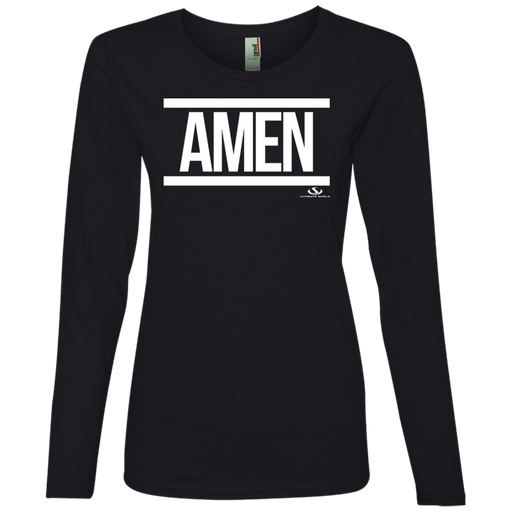 AMEN WHITE PRINT Ladies' Lightweight LS T-Shirt - ChristianMetro