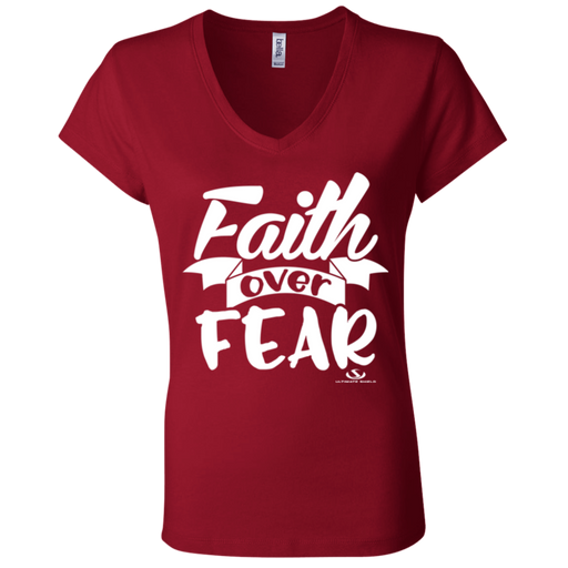 FAITH OVER FEAR Ladies' Jersey V-Neck T-Shirt - ChristianMetro