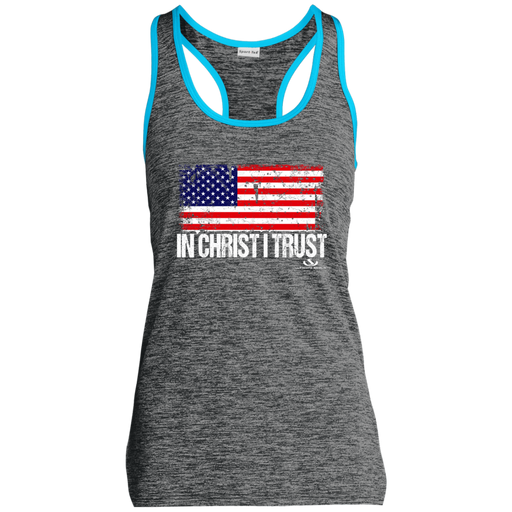 IN CHRIST I TRUST Ladies' Moisture Wicking Electric Heather Racerback Tank - ChristianMetro