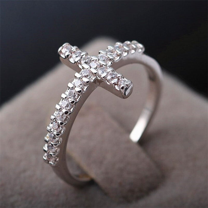 Zircon Inlaid Cross Finger Ring