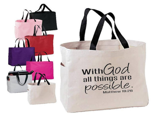 Tote Bag - With God All Things Are Possible - ChristianMetro