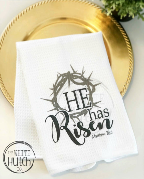 'He has Risen' Easter Towel, Bible verse Kitchen Towel