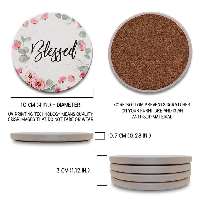 Blessed – Cool - Funny - Cute - Absorbent Ceramic Drink Coasters Set of 4