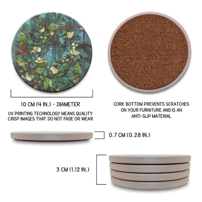 Christmas – Winter – Lights – Ornaments – Wreaths – Absorbent Ceramic Drink Coasters Set of 4