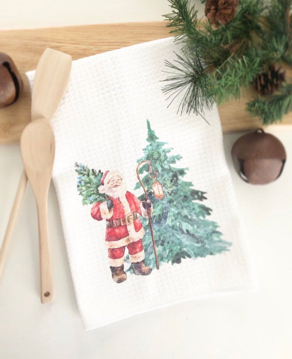 Christmas Kitchen Towel, Vintage Santa Decor, Holiday Decor