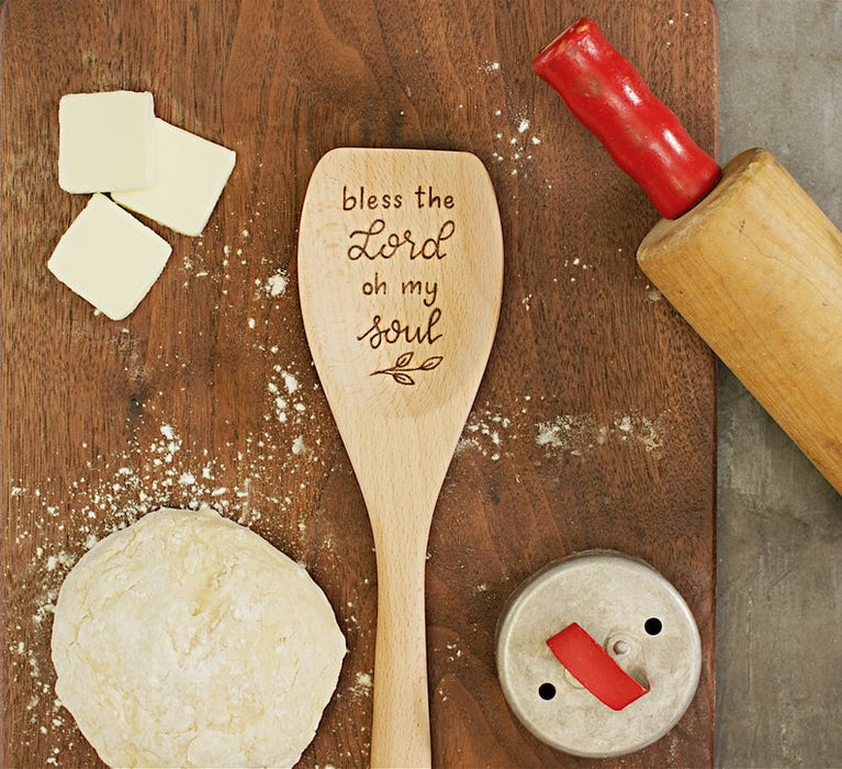 Bless the Lord oh my Soul, Wooden spoon, Christian housewarming gift for her, hymn decor, farmhouse kitchen