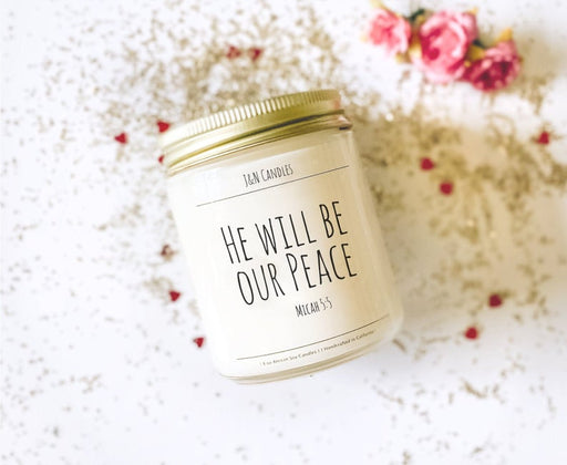 Encouraging gifts, Christian gift, Worship Lyrics, Candle, He will be our peace, bible verse candle - ChristianMetro