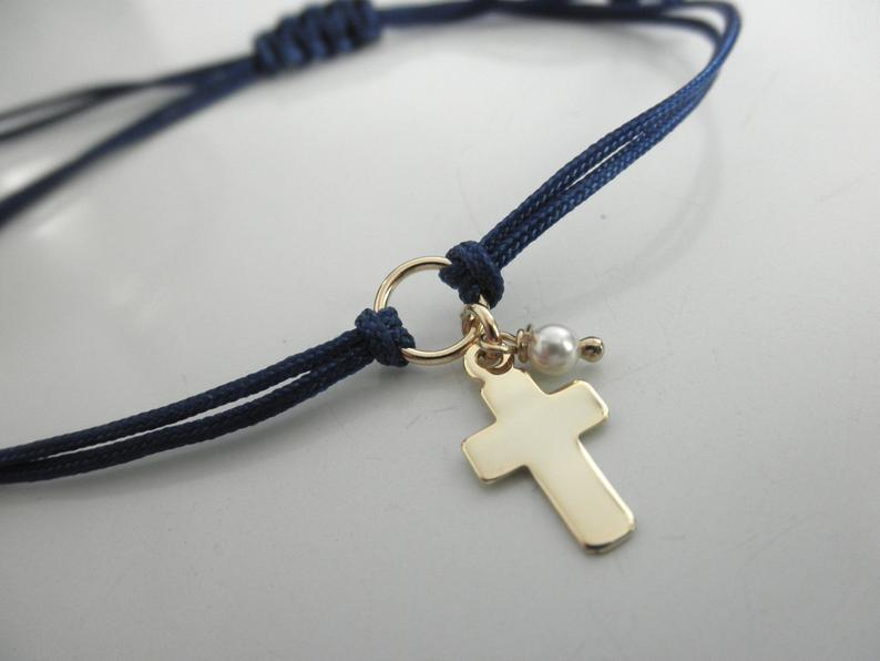 Gold vermeil cross friendship bracelet with tiny pearl
