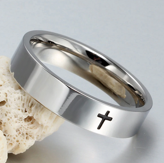 Stainless Steel with Embedded Cross Finger Ring