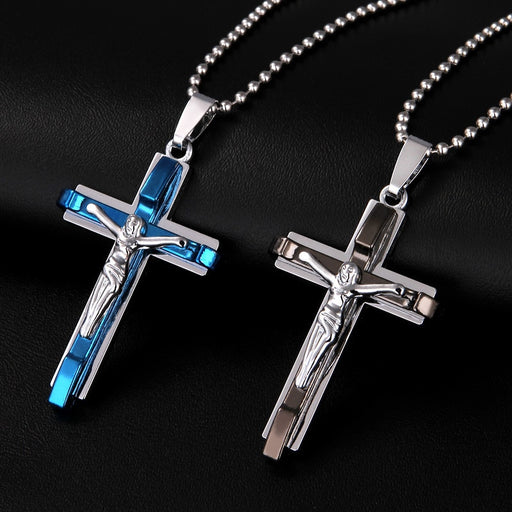Jesus Men's Stainless Steel Cross Jewelry - ChristianMetro