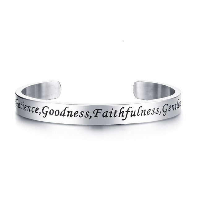 'Fruit of the Spirit' Stainless Steel Cuff Bracelet
