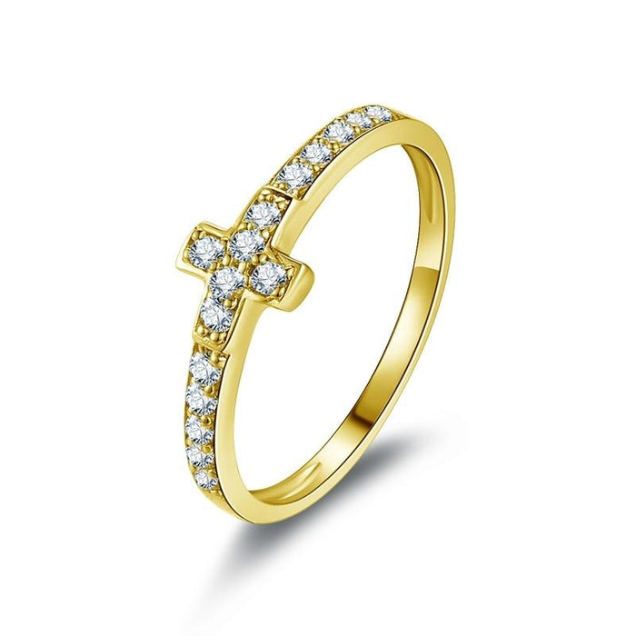 Yellow Gold Cross Ring - ChristianMetro