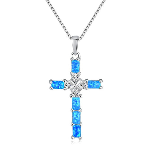 Necklace Silver Plated Gem Crucifix With Stone - ChristianMetro