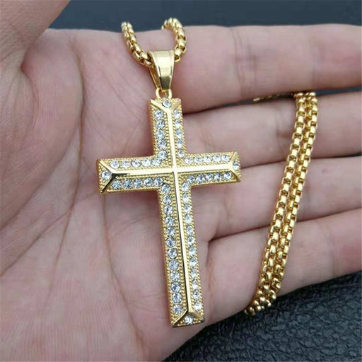 Cross Pendant With Stainless Steel Chain Golden Necklace For Men - ChristianMetro