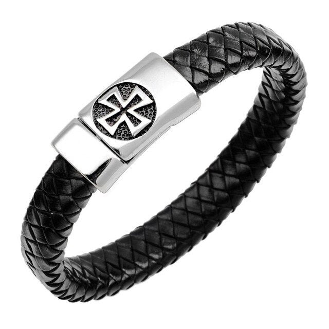Genuine Braided Cross Leather Steel Bangle - ChristianMetro