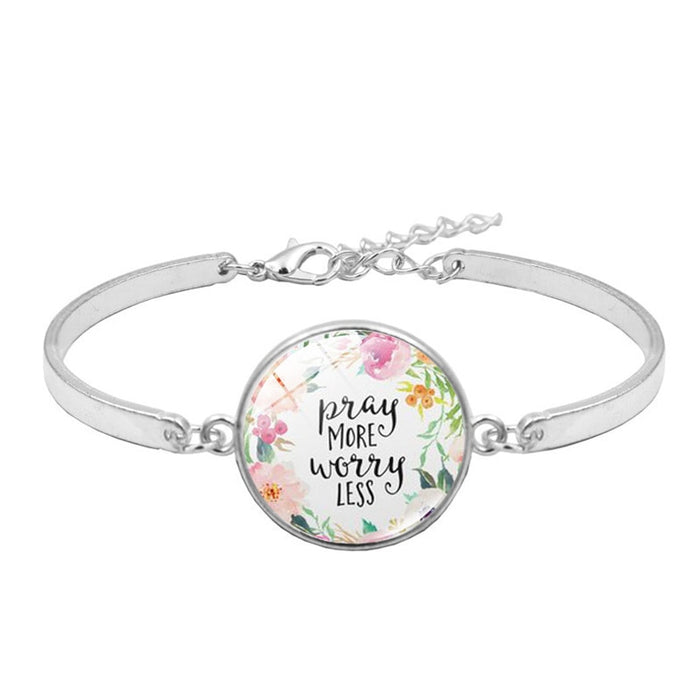 'Pray More Worry Less' Bible Quote Handmade Silver Charm Bracelet