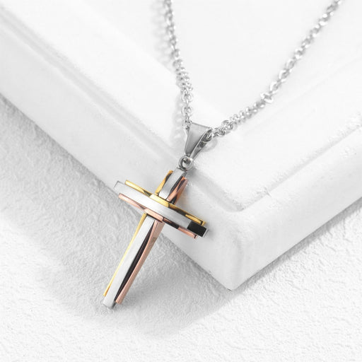 Men and women necklace Titanium steel cross pendant Christian pendant - ChristianMetro