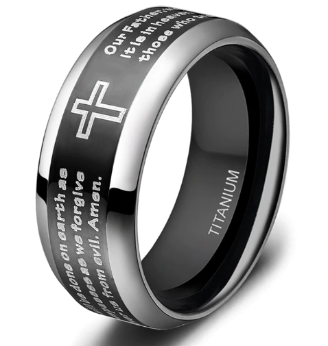 Tigrade Black Finger Ring with The Lord's Prayer