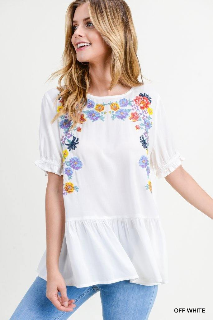 LYDIA EMBROIDERED PEPLUM TOP