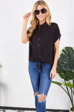 ALICE FRONT TIE BUTTON TOP
