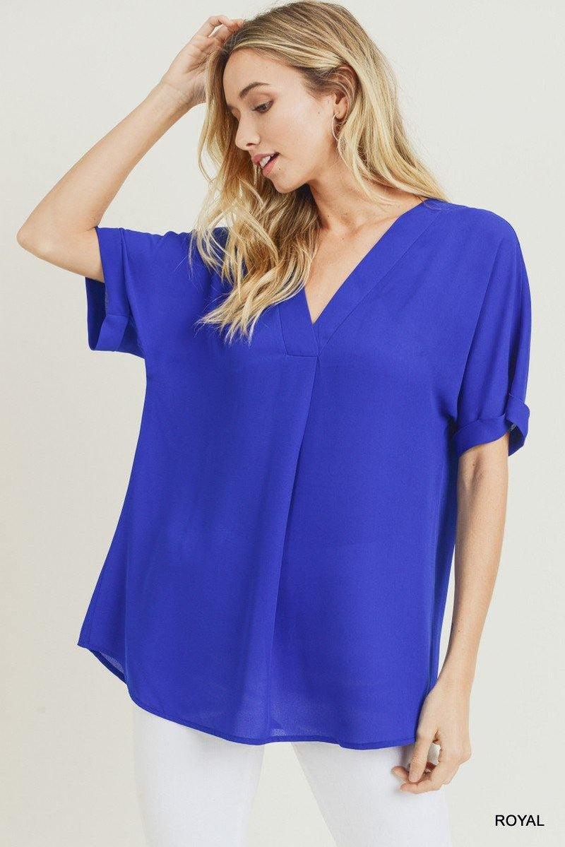 LILLIE SOLID CHIFFON TOP - Patton's