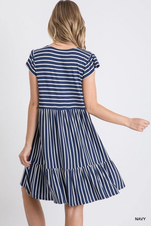 BELLA STRIPED BABY DOLL DRESS
