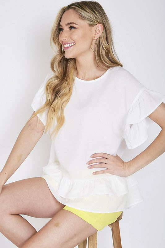 LINDA RUFFLED ROUND NECK TOP