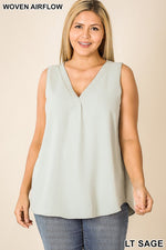 CHLOE PLUS V NECK SLEEVELESS TOP