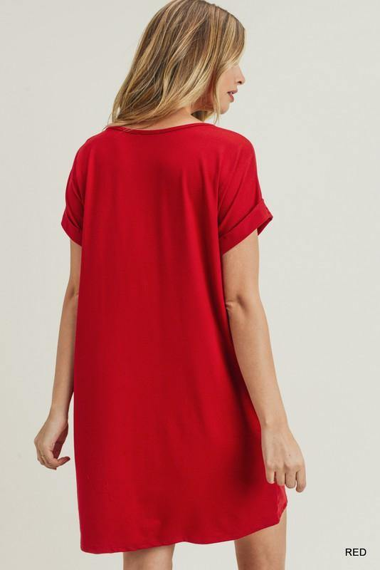 JODI SOLID V NECK POCKET DRESS