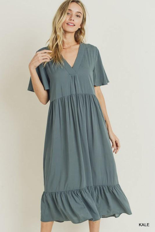 BETHANY RUFFLED HEM MIDI DRESS