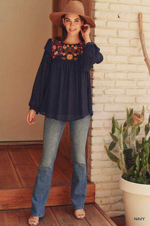 CINDY SWISS DOT CHIFFON EMBROIDERED TOP